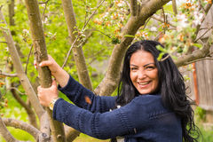 Woman holding branch tree Royalty Free Stock Images