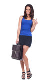 Woman holding a briefcase and making ok sign Royalty Free Stock Image