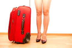 Woman holding broken traveling luggage Royalty Free Stock Photos