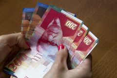 Woman holding a bunch of Israeli New Sheqel banknotes in her han Stock Photography