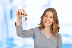 Woman holding a bunch of keys Royalty Free Stock Photography