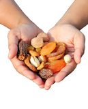 Woman Holding Bunch Of Dry Fruits Isolated Stock Photo