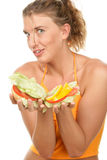 Woman holding burger Royalty Free Stock Photo