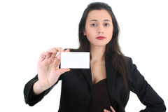 Woman holding a business card Stock Images