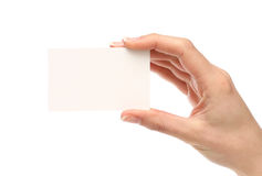 Woman holding a business card. Blank business card. Add your own text Royalty Free Stock Photography