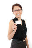 Woman holding business card. Woman holding white empty blank business card isolated on  white Stock Photography