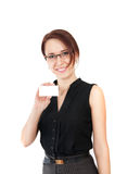Woman holding business card. Pretty young business woman holding business card isolated ob white background Royalty Free Stock Photo