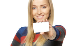 WOMAN HOLDING BUSINESS CARD Stock Photos