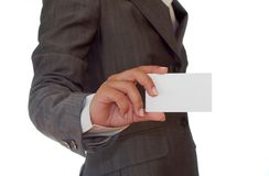 Woman holding a business card Royalty Free Stock Image