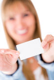 Woman holding a business card Stock Image