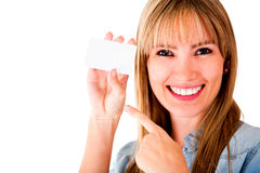 Woman holding business card Royalty Free Stock Photography