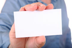 Woman is holding a business card Stock Photos