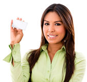 Woman holding business card Stock Photo