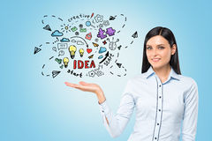 Woman is holding business idea sketch Stock Images