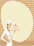 Woman holding cake Royalty Free Stock Photos