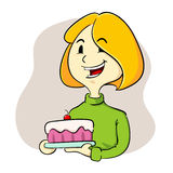 Woman holding a cake Royalty Free Stock Image