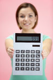 Woman Holding Calculator Royalty Free Stock Image