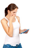 Woman holding a calculator Royalty Free Stock Photo