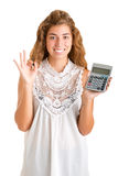Woman Holding a Calculator Royalty Free Stock Photography
