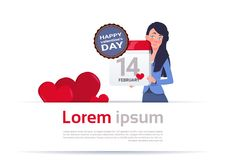 Woman Holding Calendar Page 14 February Happy Valentines Day Concept. Flat Vector Illustration vector illustration