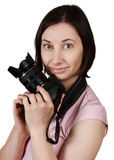 Woman holding a camera Royalty Free Stock Photo