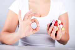 Woman holding a candies Stock Photo