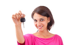 Woman holding car keys Stock Images