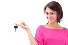 Woman holding car keys Stock Photos