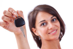 Woman holding car keys Royalty Free Stock Image