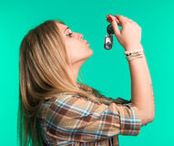 Woman holding car keys Stock Photography