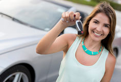 Woman holding car keys Stock Photo