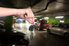 Woman holding car keys Royalty Free Stock Image