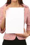 Woman holding card. Young woman holding an empty card. Insert your own text Stock Photos