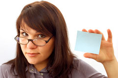 Woman holding card #5 Stock Photography