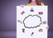 Woman holding card with cloud and business graphics drawings. Digital composite of Woman holding card with cloud and business graphics drawings Stock Image