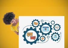 Woman holding card with education icons gears learning graphics drawings Royalty Free Stock Photography