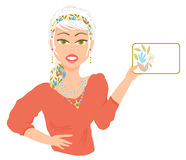 Woman Holding Card. Illustration of a platinum blonde woman holding a card, isolated against white background. Card area for text of choice stock illustration