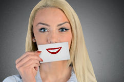Woman holding card with smile sketch Royalty Free Stock Image