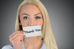 Woman holding card with Thank you word Stock Photography