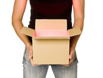 Woman holding a cardboard box Royalty Free Stock Photo