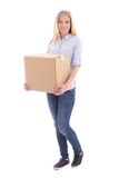 Woman holding cardboard box isolated on white Royalty Free Stock Photo