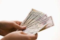 Woman Holding Cash Stock Photo