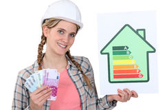 Woman holding cash. And energy rating card royalty free stock photography