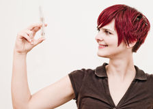 Woman holding Cash Injection Stock Image