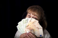 Woman Holding Cash Stock Photos