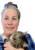 Woman holding cat Stock Image