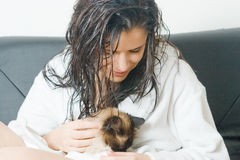 Woman holding cat Stock Photo