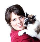 Woman holding cat in her arms; isolated Stock Photography