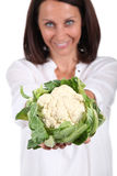 Woman holding cauliflower Stock Photography