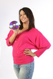 Woman holding a cd Stock Photography